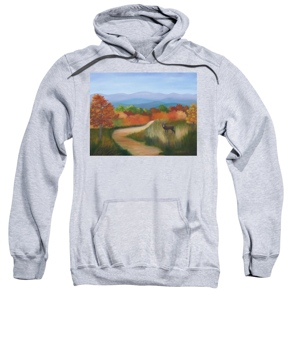 Mountains Sweatshirt featuring the painting Autumn In Blue Ridge Mountains Virginia by Ruth Housley