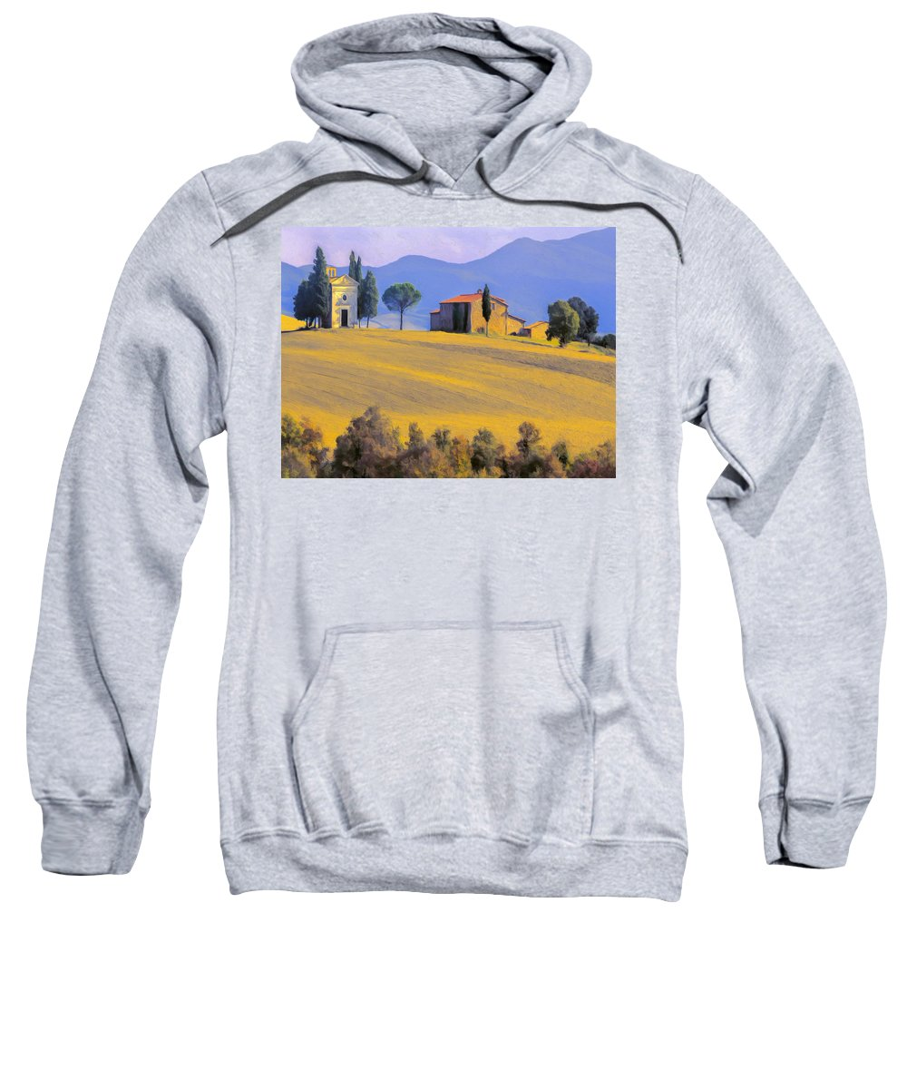 Italy Sweatshirt featuring the painting Autumn In Tuscany by Dominic Piperata