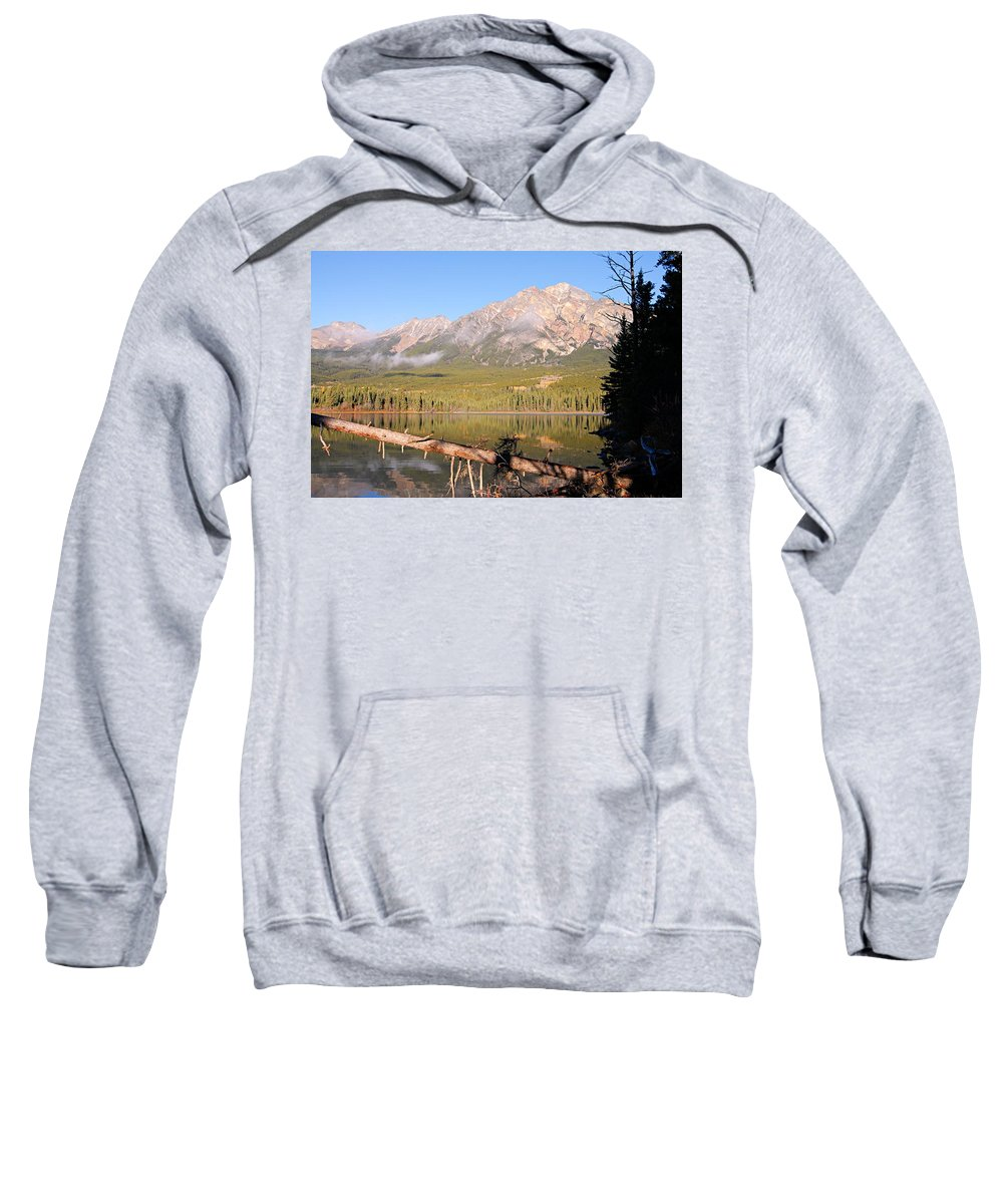 Pyramid Mountain Sweatshirt featuring the photograph Autumn Morning At Pyramid Mountain by Larry Ricker