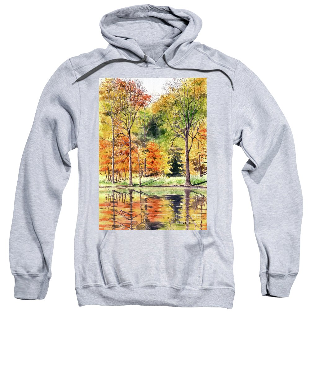 Autumn Sweatshirt featuring the painting Autumn Oranges by Mary Tuomi