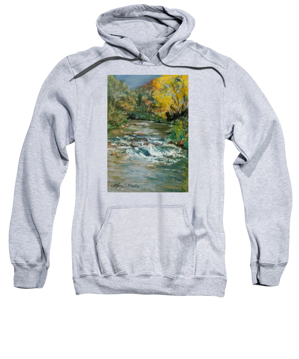 River Sweatshirt featuring the painting Autumn Rush by Mary Benke