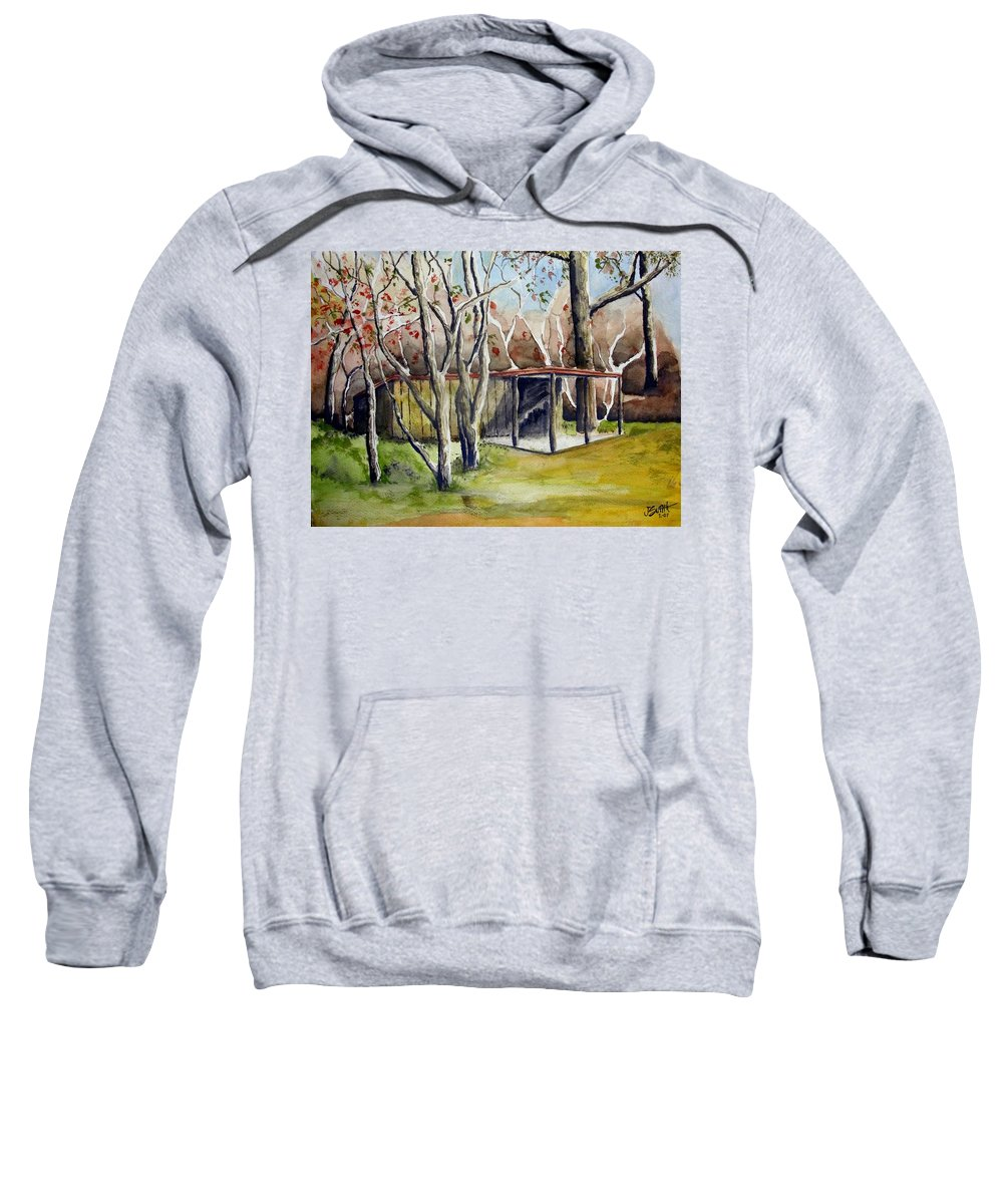 Autumn Sweatshirt featuring the painting Autumn Shed by Jimmy Smith