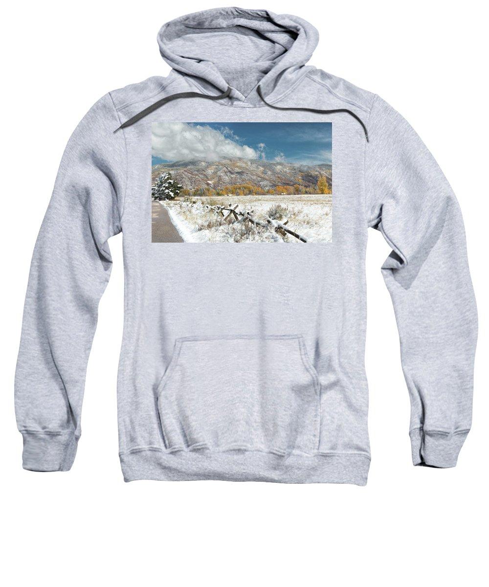 Autumn Snowfall In Aspen Sweatshirt featuring the photograph Autumn Snowfall In Aspen by Jemmy Archer