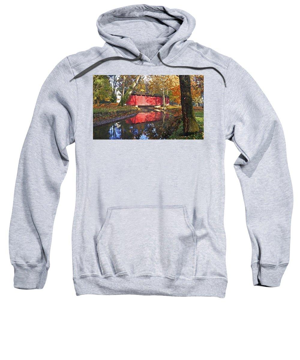 Covered Bridge Sweatshirt featuring the photograph Autumn Sunrise Bridge by Margie Wildblood