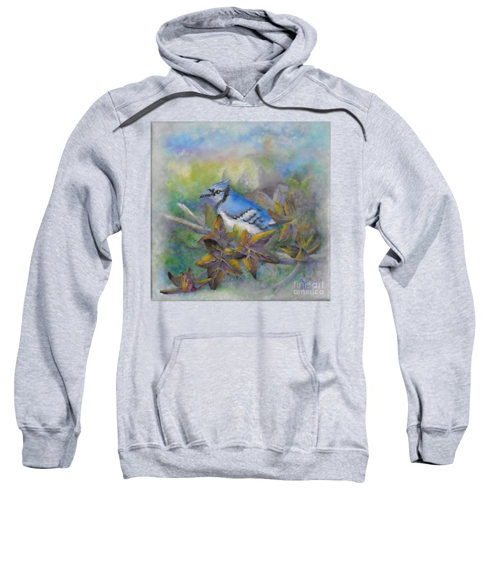 Autumn Sweatshirt featuring the painting Autumn Sweet Gum With Blue Jay by Sheri Hubbard