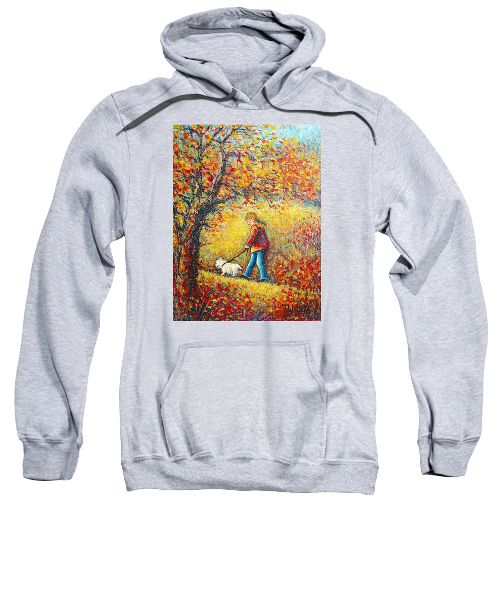 Landscape Sweatshirt featuring the painting Autumn Walk by Natalie Holland