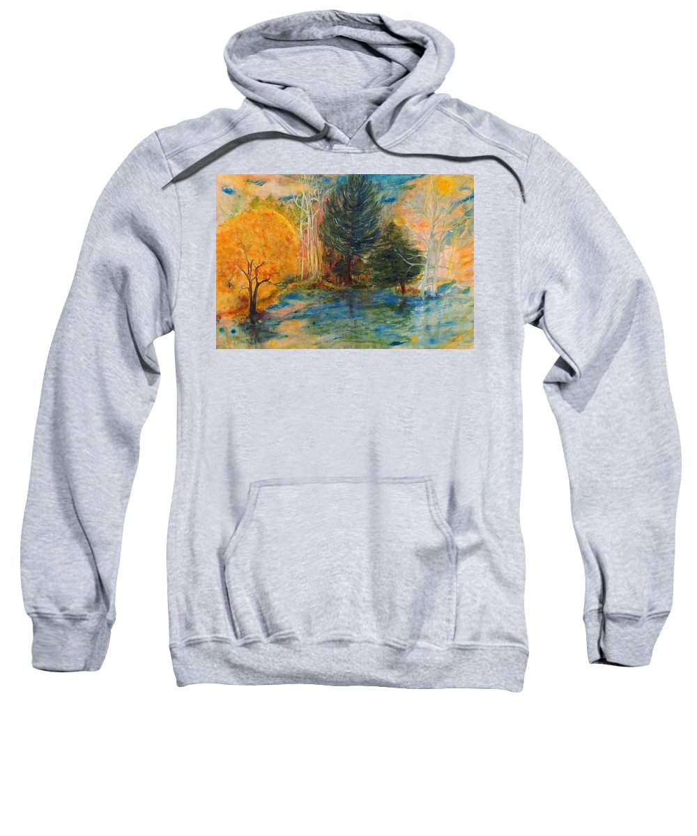 Landscape Sweatshirt featuring the painting Autumn's Glory by Andrea Turner