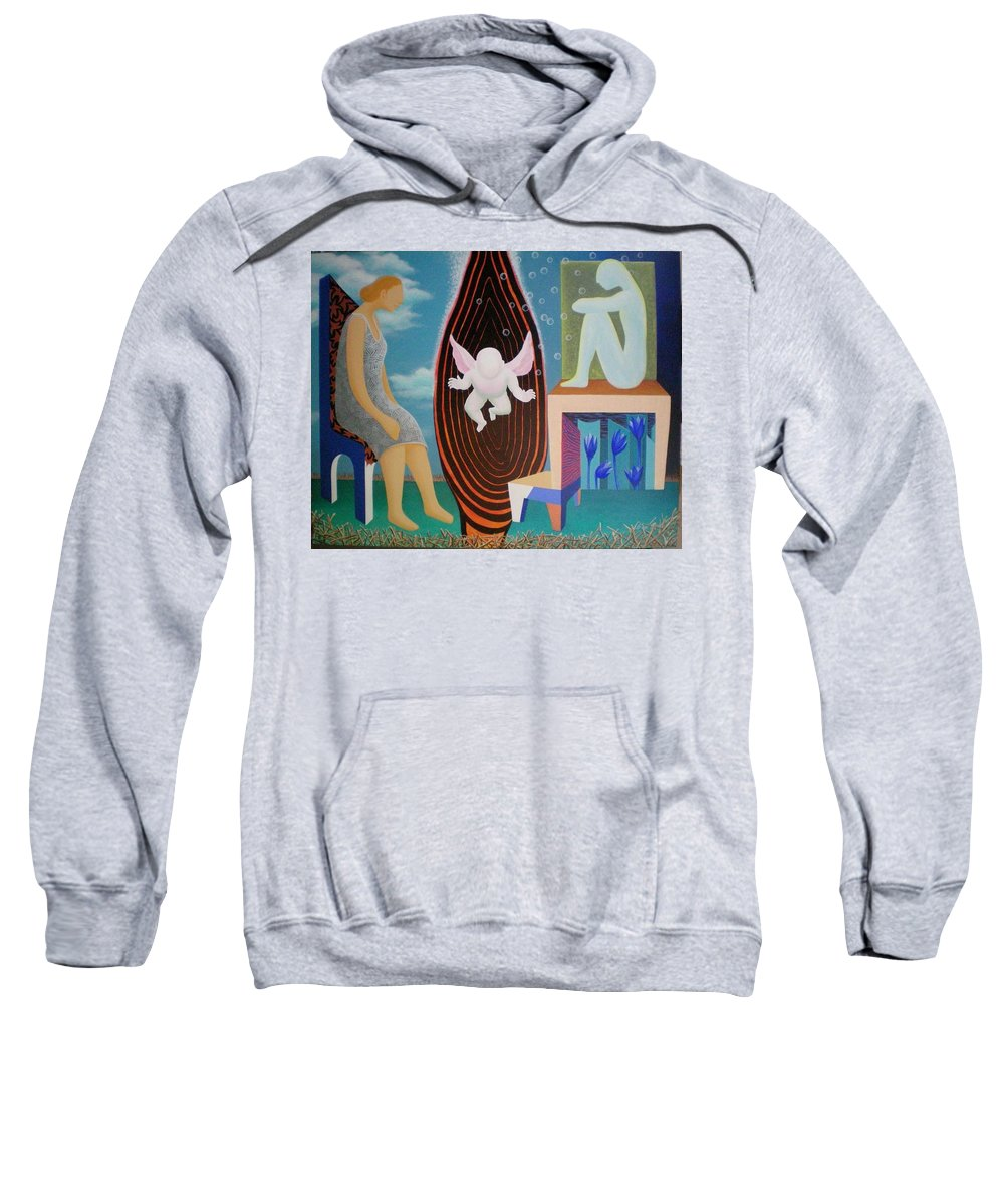 Figurative Sweatshirt featuring the painting Await by Raju Bose