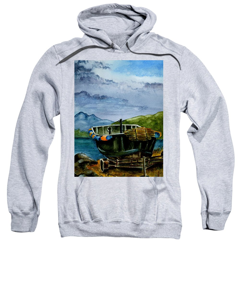 Watercolor Sweatshirt featuring the painting Awaiting The Season by Brenda Owen