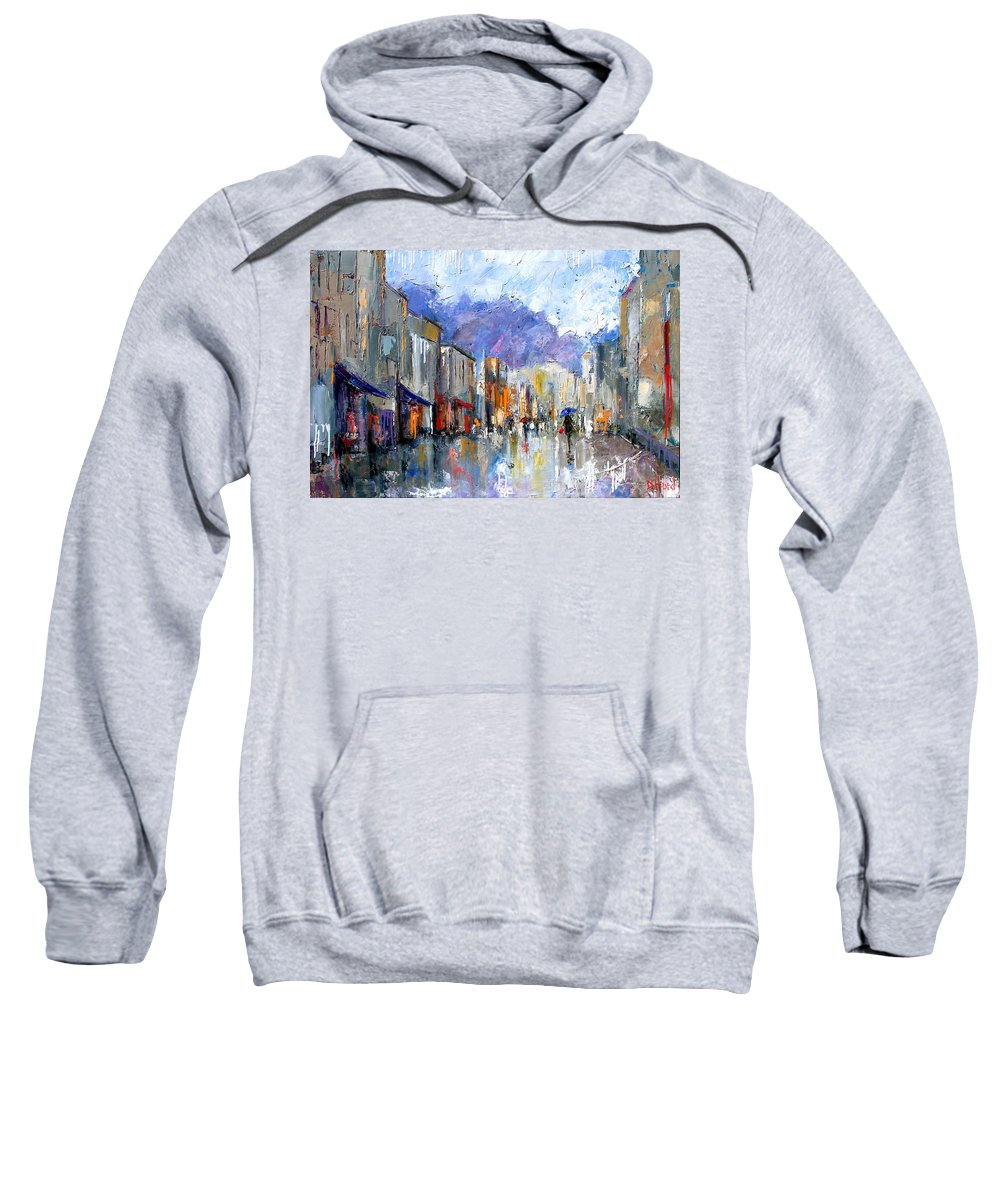 Architecture Sweatshirt featuring the painting Awnings by Debra Hurd