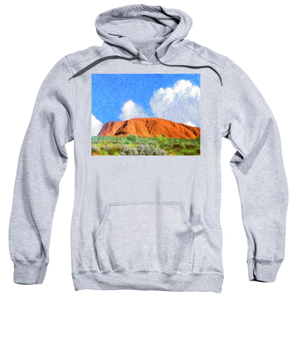 Ayers Rock Sweatshirt featuring the painting Ayers Rock by Dominic Piperata