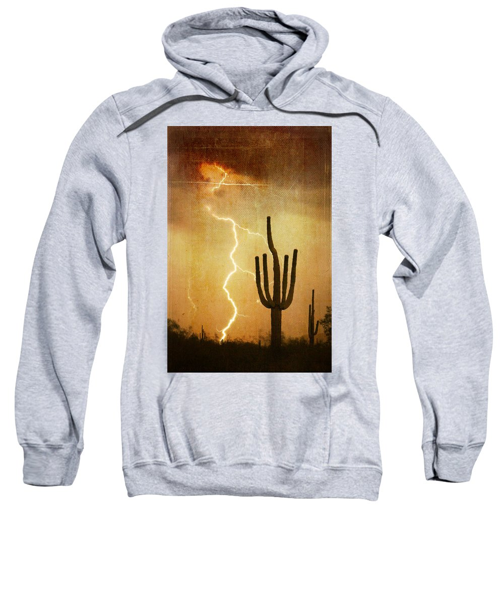 Arizona Sweatshirt featuring the photograph Az Saguaro Lightning Storm V by James BO Insogna