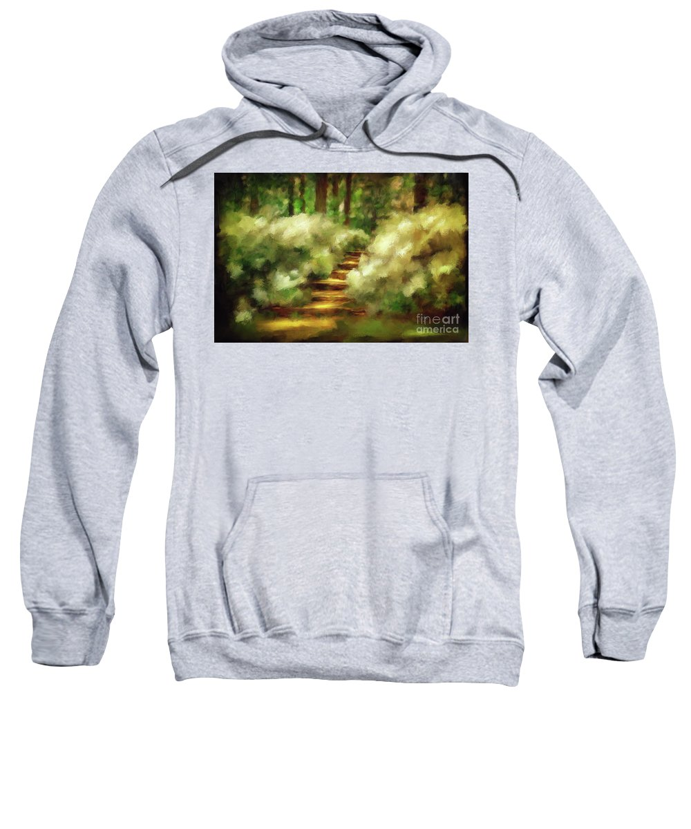 Spring Sweatshirt featuring the photograph Azalea Stairs by Lois Bryan