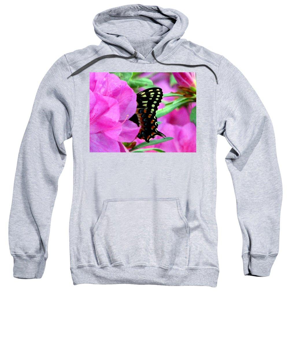 Azalea Sweatshirt featuring the photograph Azalea With Butterfly by J M Farris Photography