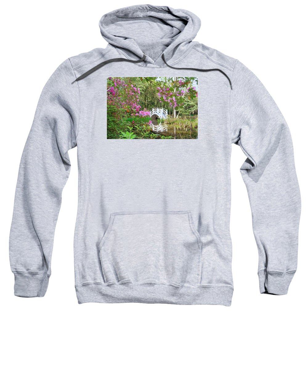 Lagoon Sweatshirt featuring the digital art Azaleas And Bridge In Magnolia Lagoon by Larry Mccrea