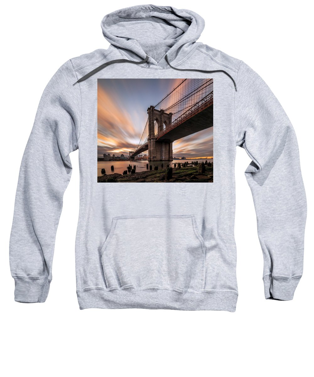 Landscape Prints Canvas Iphone Case Galaxy Case Cityscape Skyline Art Frame New York Art Buildings Sunset Sunrise Night Photography Photo Photography Love Beautiful Nyc Urban Anthonyfields Anthony Fields Sale Leaves Color Fall Clouds Relax Night Photography Skyline Brooklyn Bridge Sweatshirt featuring the photograph B R O O K L Y N - B R I D G E by Anthony Fields
