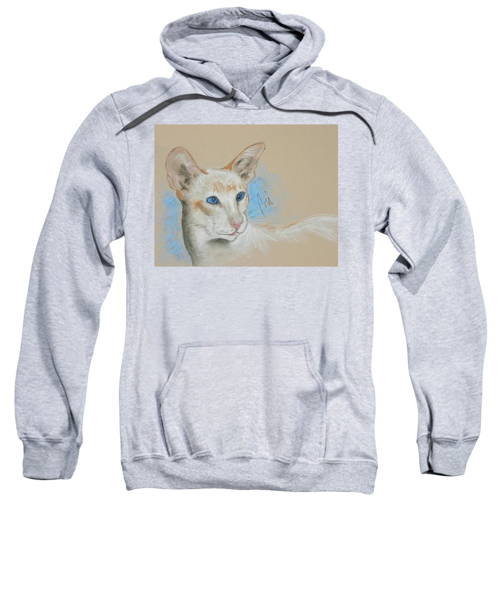 Cat Sweatshirt featuring the drawing Baby Blues by Cori Solomon
