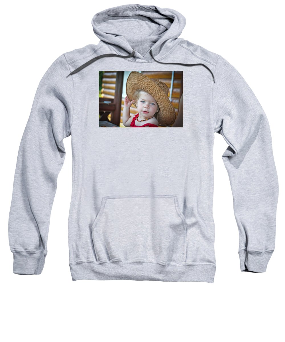 Accessories Sweatshirt featuring the photograph Baby Girl Wearing Straw Hat by Zoltan Albertini