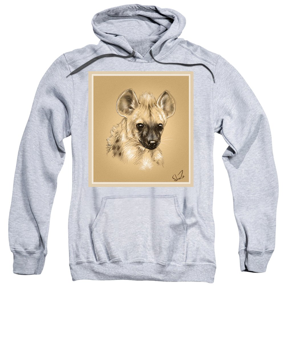Baby Sweatshirt featuring the digital art Baby Hyena by Shaza D