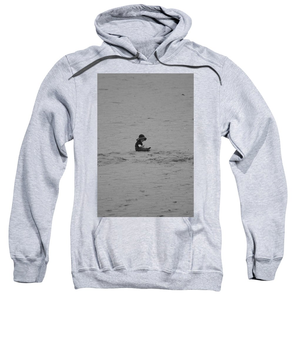 Black And White Sweatshirt featuring the photograph Baby In The Sand by Rob Hans