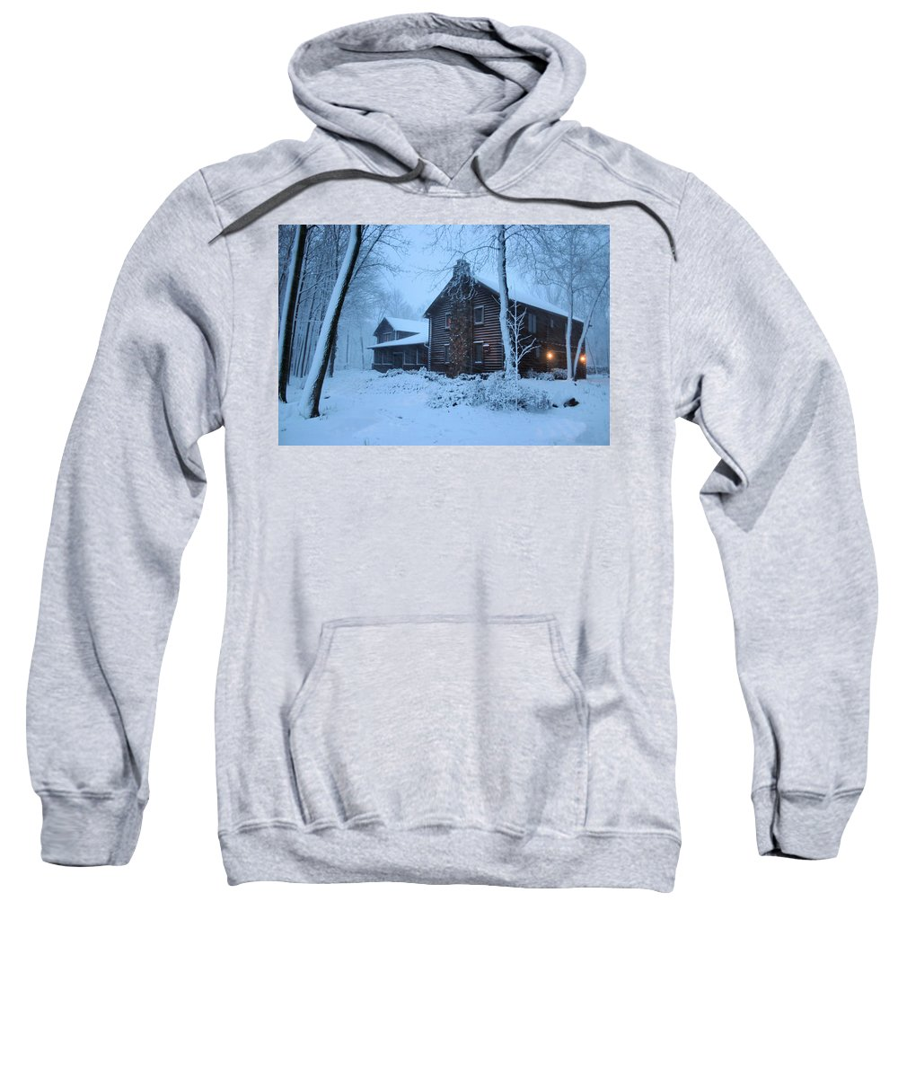 Logs Sweatshirt featuring the photograph Baby Its Cold Outside by Kristin Elmquist