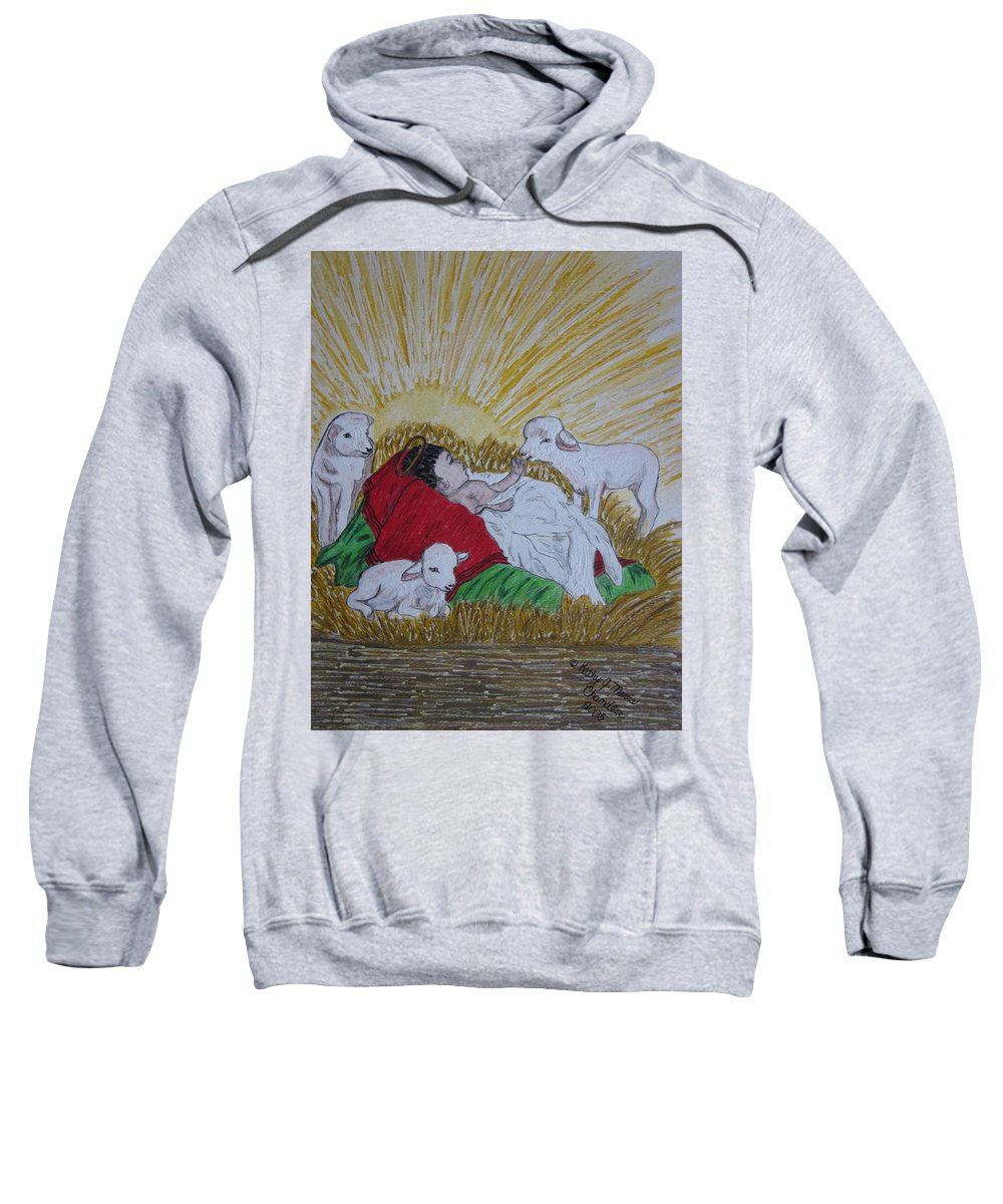 Saviour Sweatshirt featuring the painting Baby Jesus At Birth by Kathy Marrs Chandler
