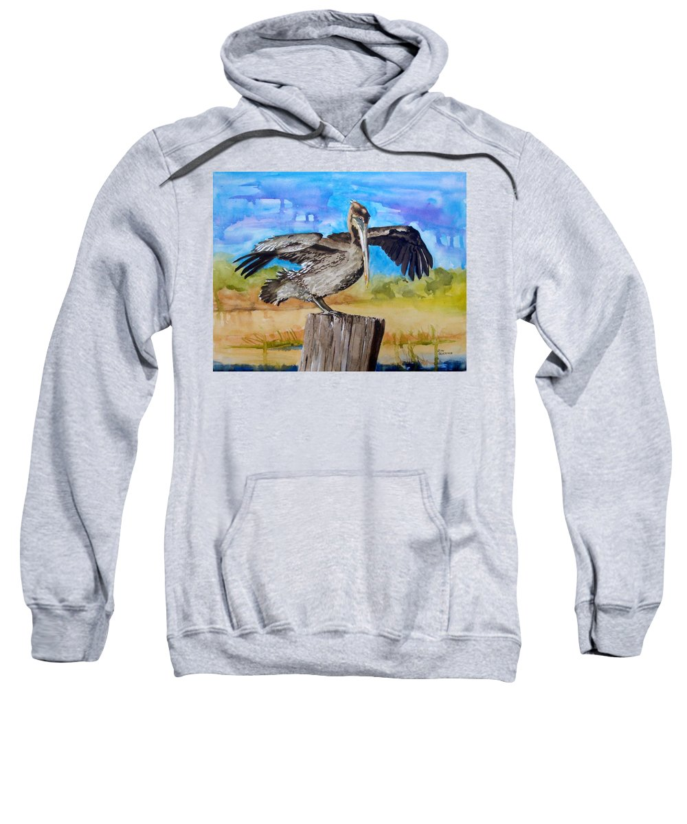 Pelican Sweatshirt featuring the painting Baby Spreads His Wings by Jean Blackmer