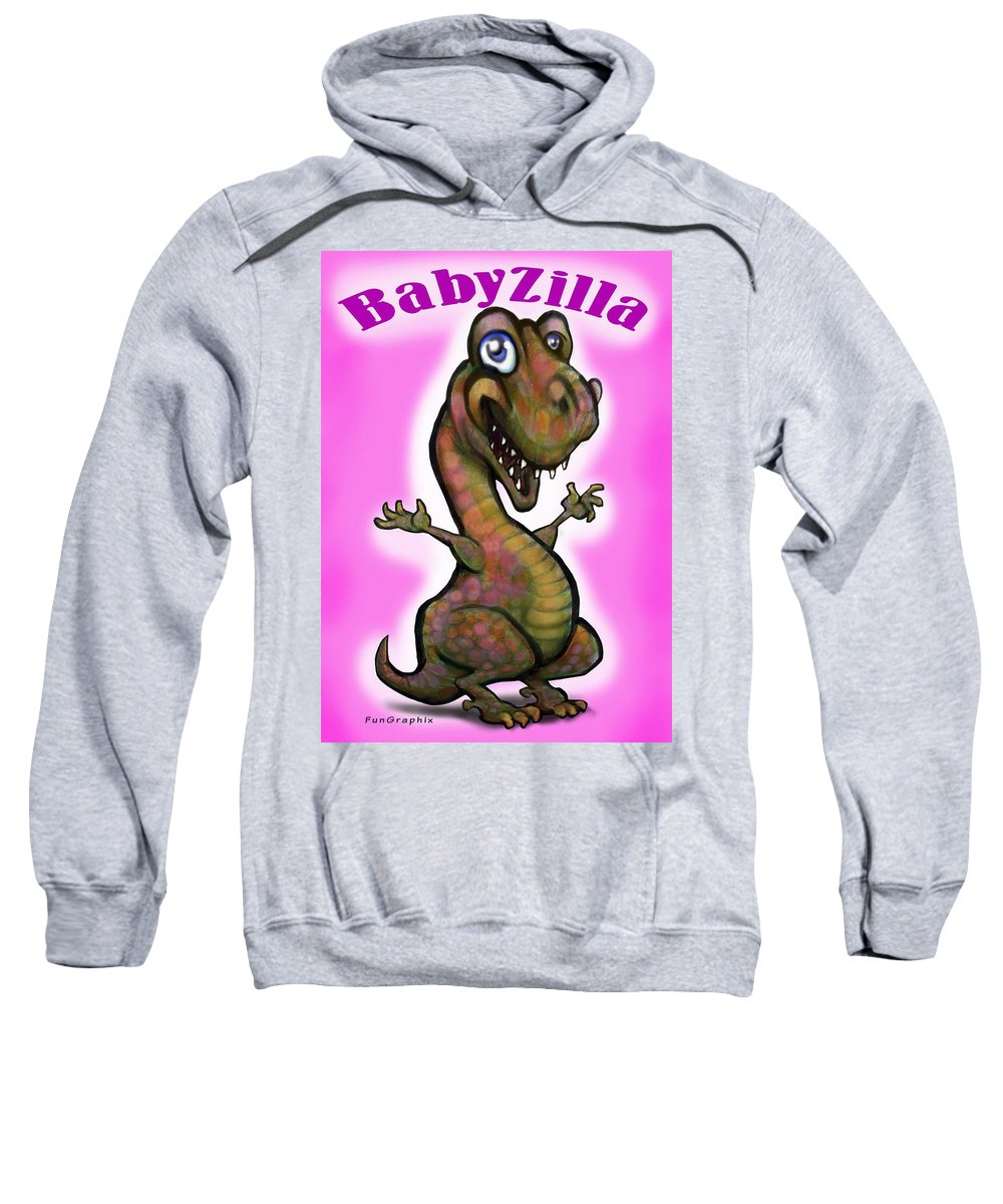 Babyzilla Sweatshirt featuring the greeting card Babyzilla by Kevin Middleton
