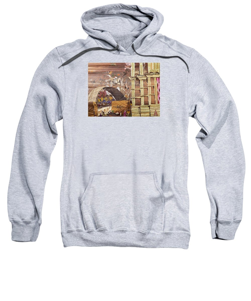 Back Door Entry For Relief To Disabled Sweatshirt featuring the mixed media Back Entry by Basant soni