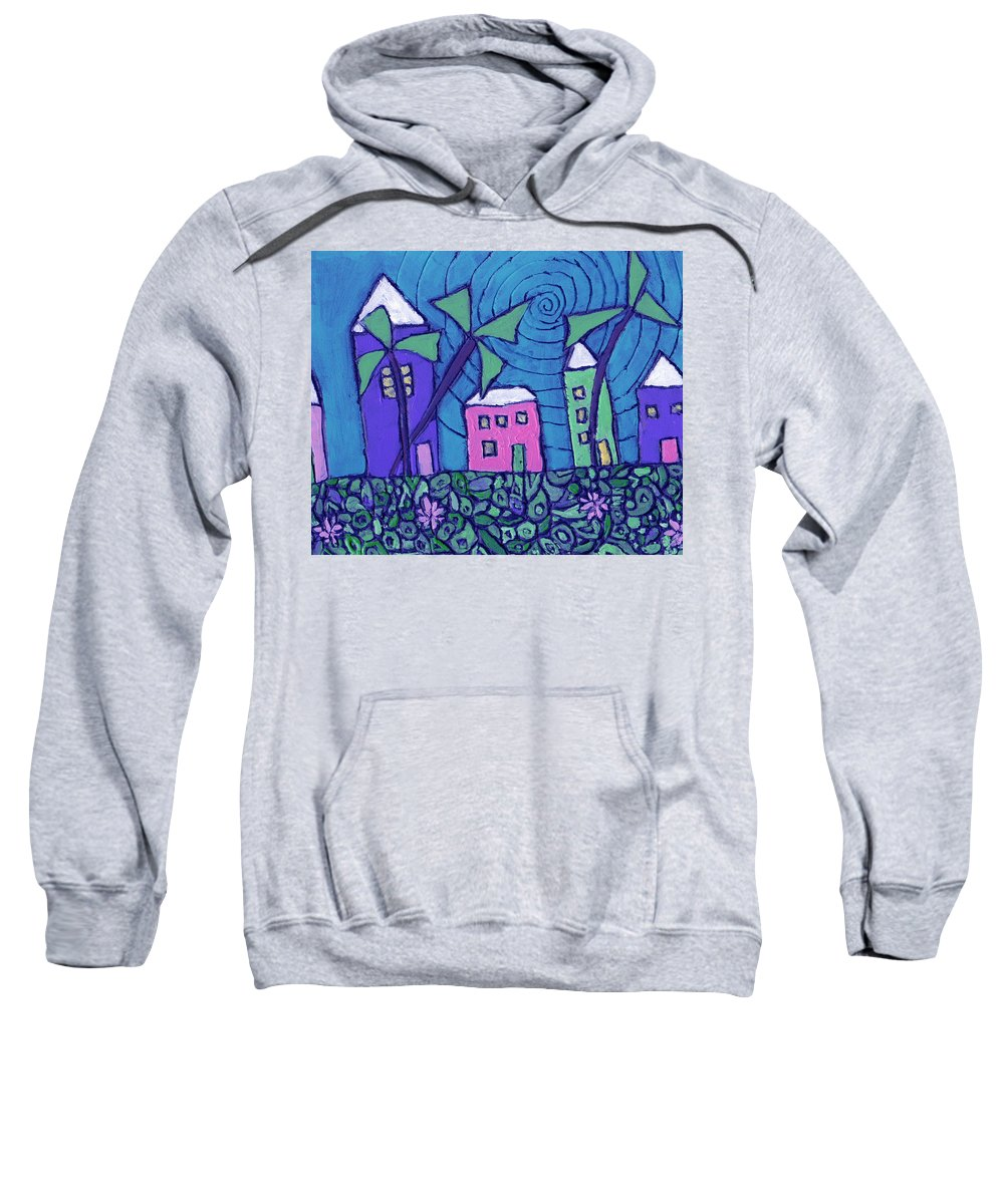 Whimsical Sweatshirt featuring the painting Back Home On The Island by Wayne Potrafka