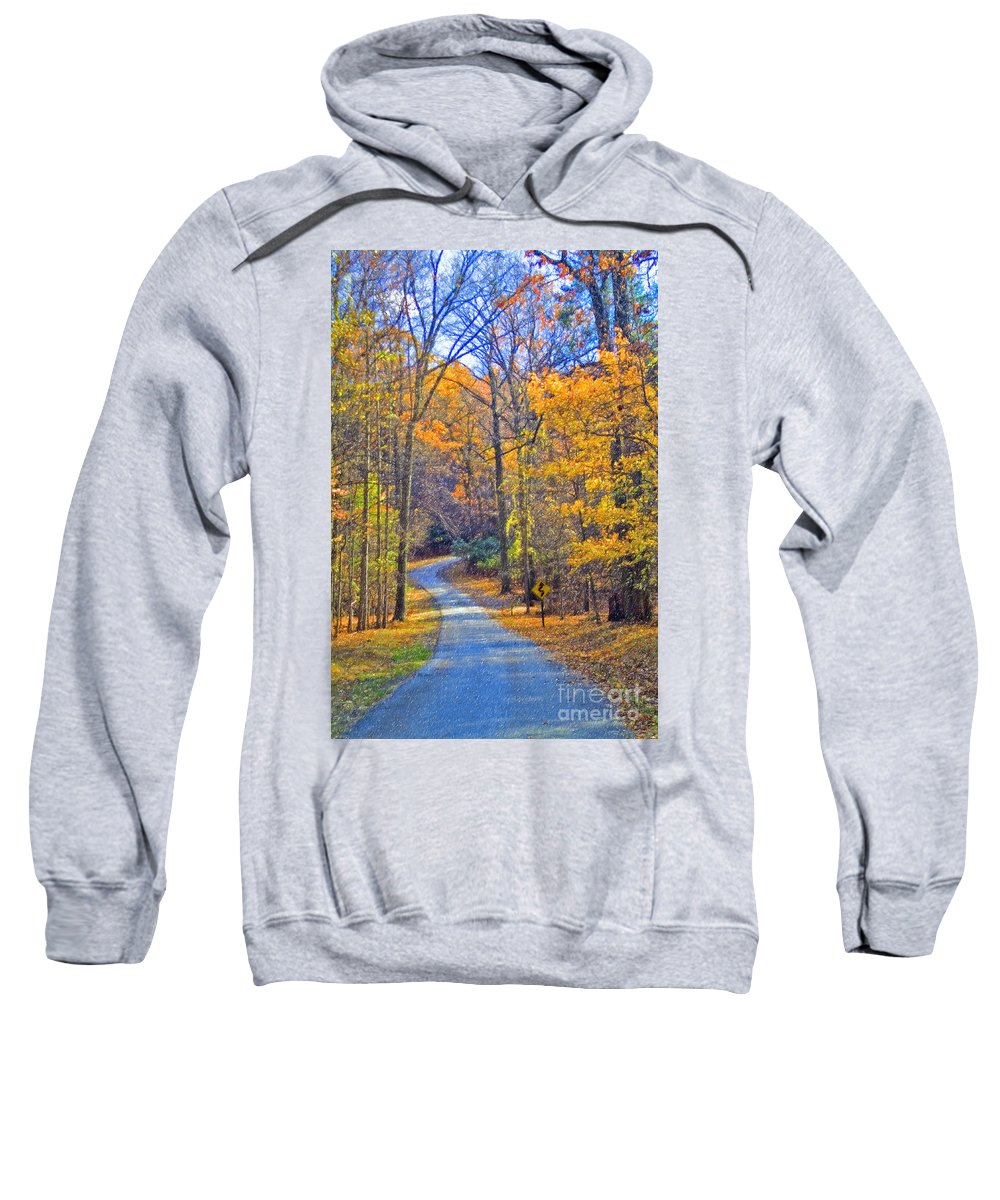 Back Road Fall Colors Foliage Revolutionary Civil War Road Valley Forge Pa Sweatshirt featuring the photograph Back Road Fall Foliage by David Zanzinger