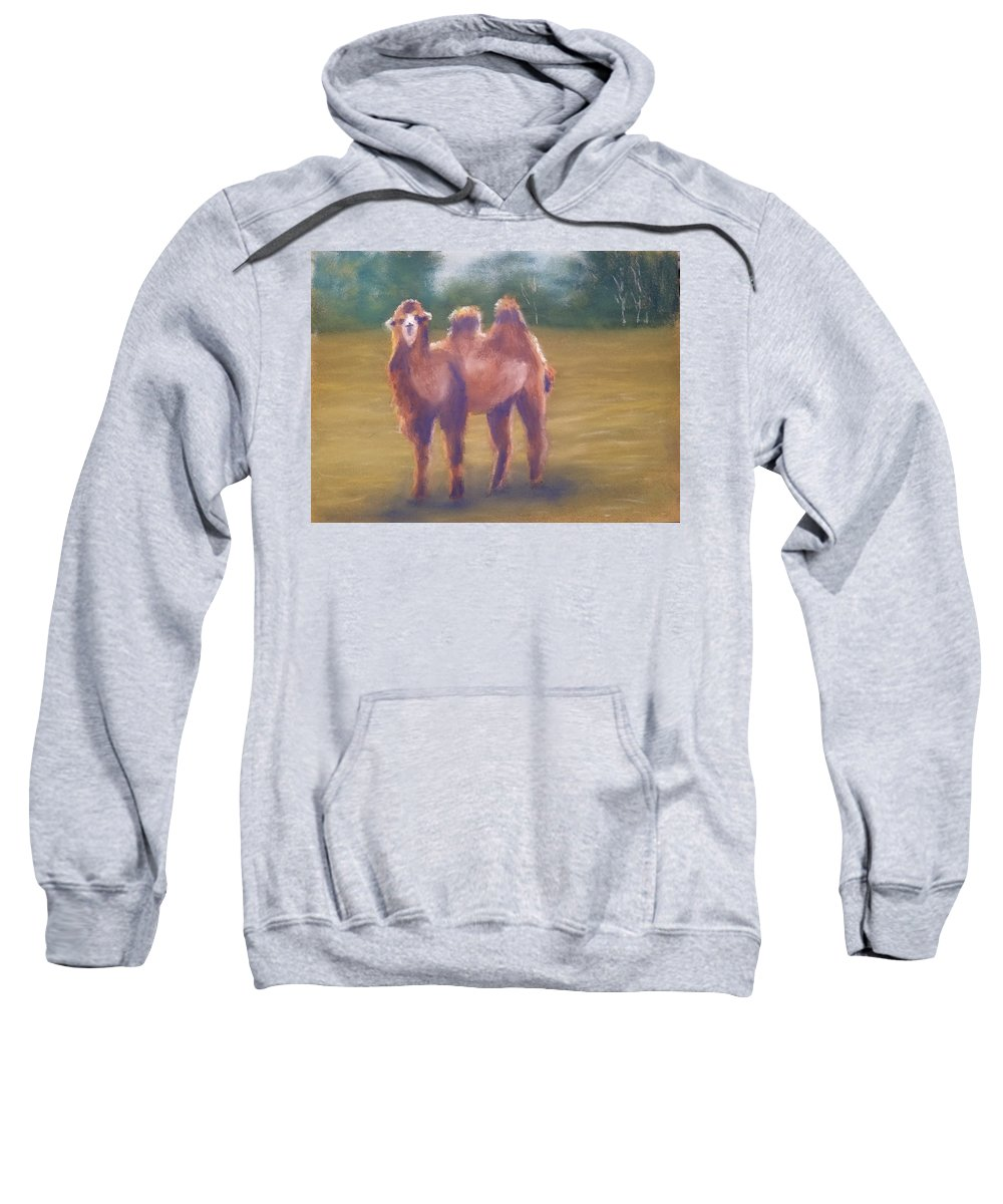 Camel Sweatshirt featuring the painting Backlit Bactrian by Sharon E Allen