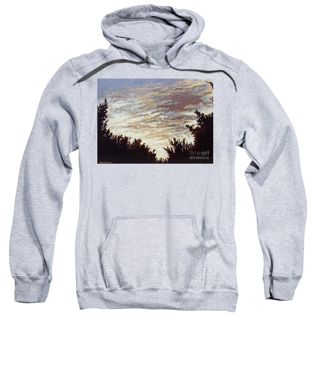 Landscape Sweatshirt featuring the painting Backyard Sunset by Todd Blanchard