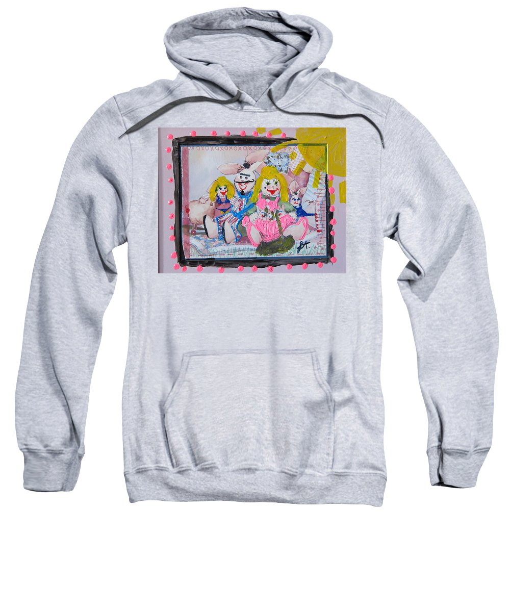Adult Sweatshirt featuring the painting Bad Bunnies by Lisa Piper