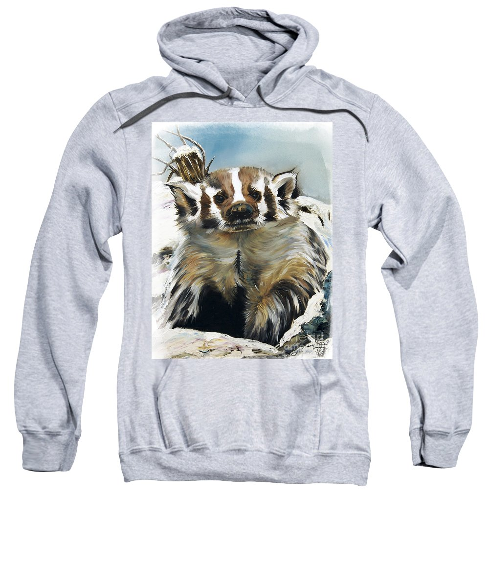 Southwest Art Sweatshirt featuring the painting Badger - Guardian Of The South by J W Baker