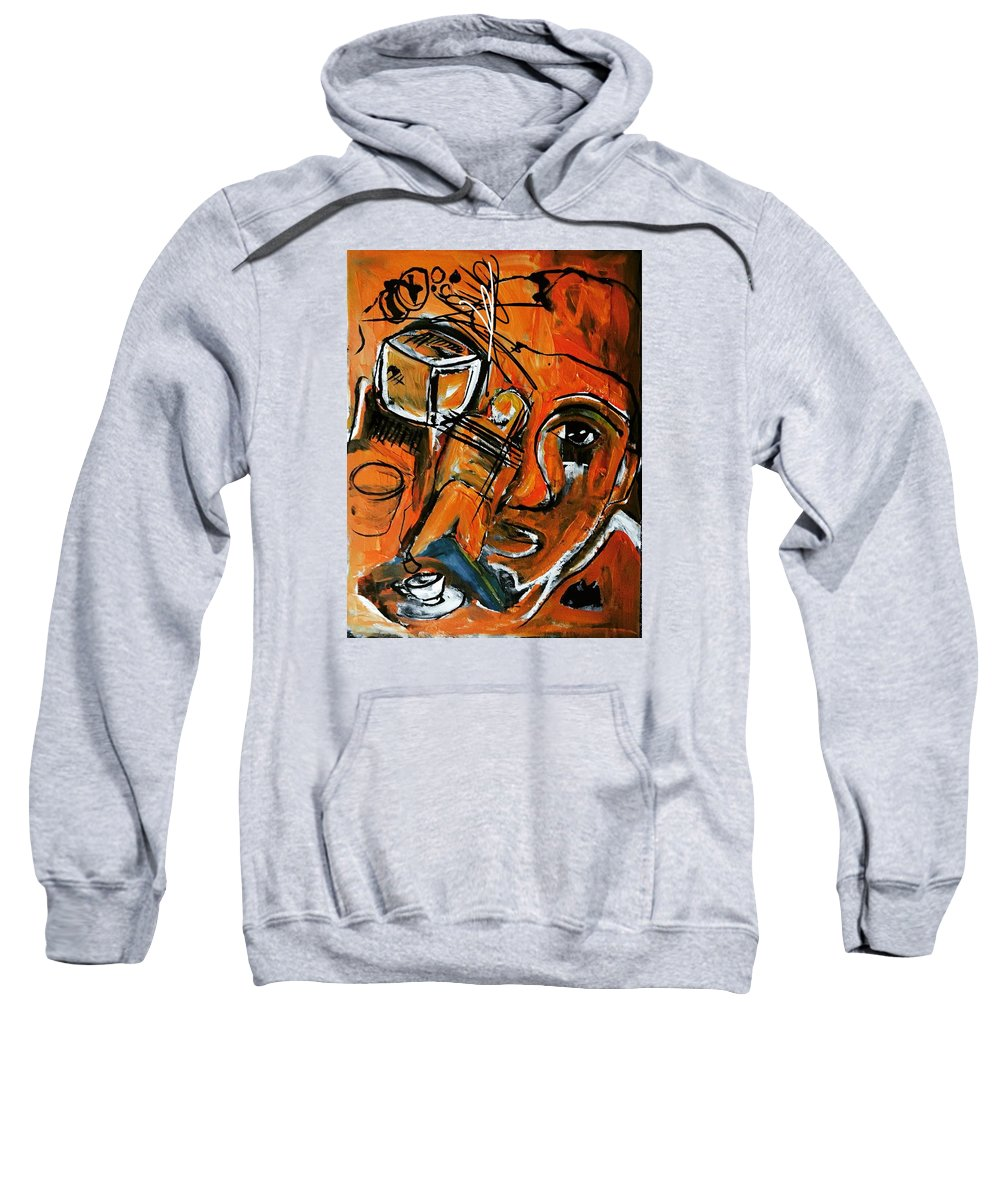 Orange Sweatshirt featuring the painting Baggage by Helen Syron