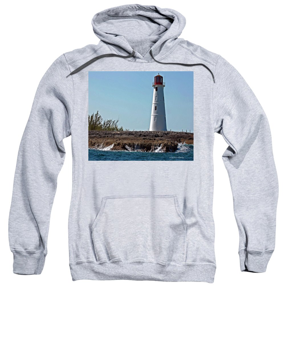 Ocean Sweatshirt featuring the digital art Bahamas Lighthouse by DigiArt Diaries by Vicky B Fuller