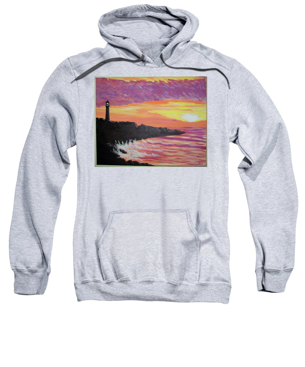 Seascape Sweatshirt featuring the painting Bahia At Sunset by Marco Morales