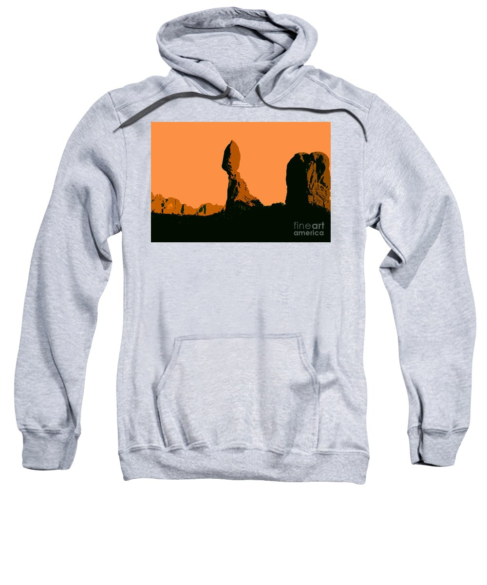 Balance Rock Sweatshirt featuring the painting Balance Rock by David Lee Thompson
