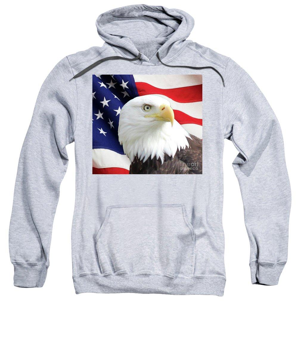 Bald Eagle Sweatshirt featuring the photograph Bald Eagle Close Up by Art Kurgin
