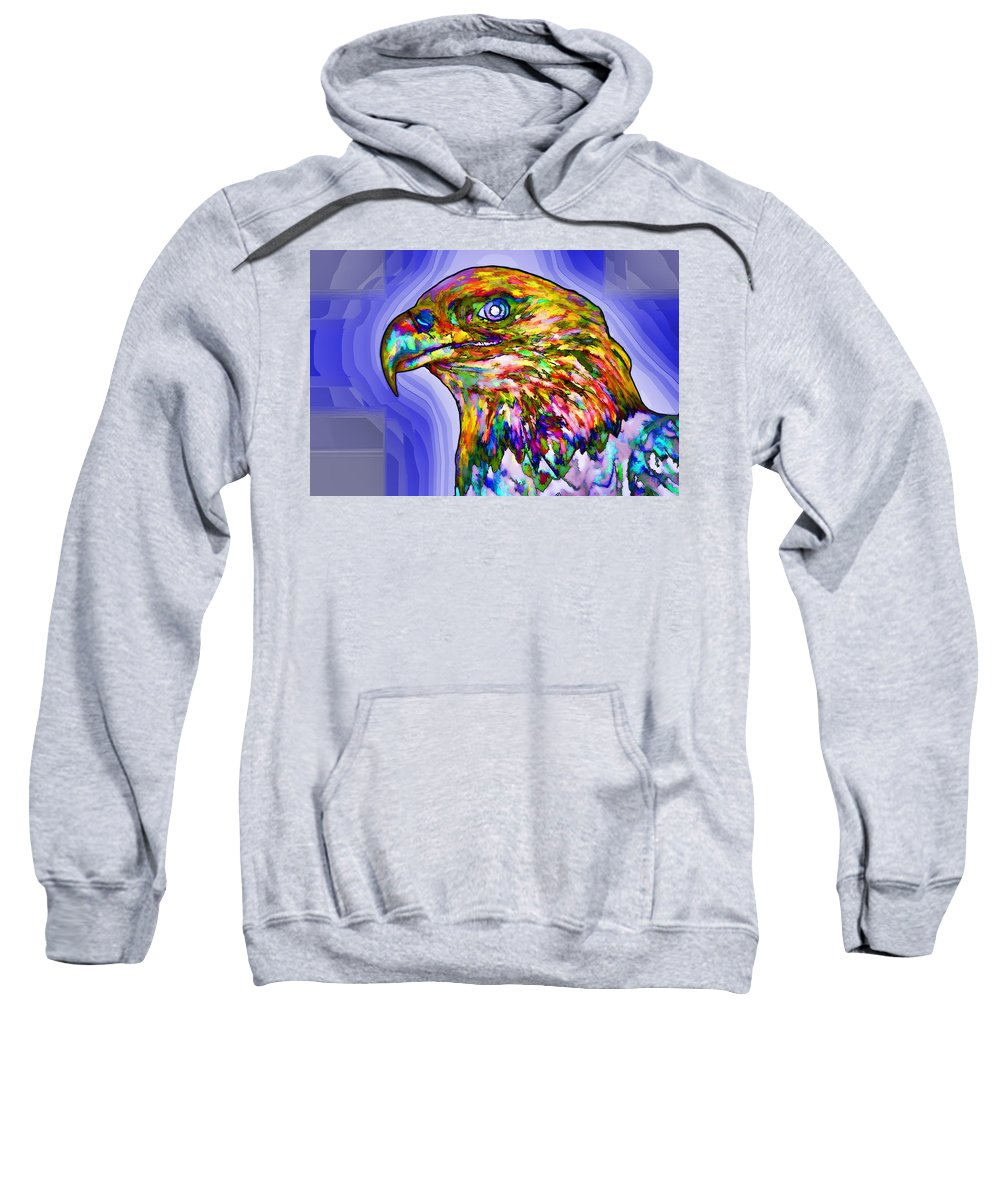 Bald Eagle Face Sweatshirt featuring the painting Bald Eagle Face by Jeelan Clark