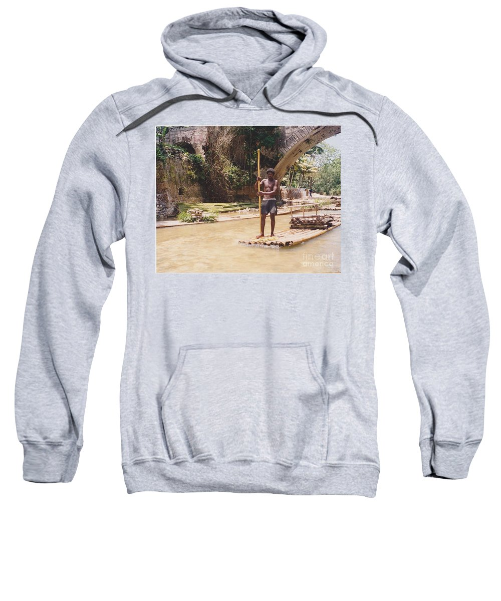 River Sweatshirt featuring the photograph Bamboo Boat by Michelle Powell