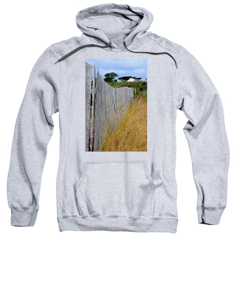 Beach Sweatshirt featuring the photograph Bandon Beach Fence by Michele Avanti