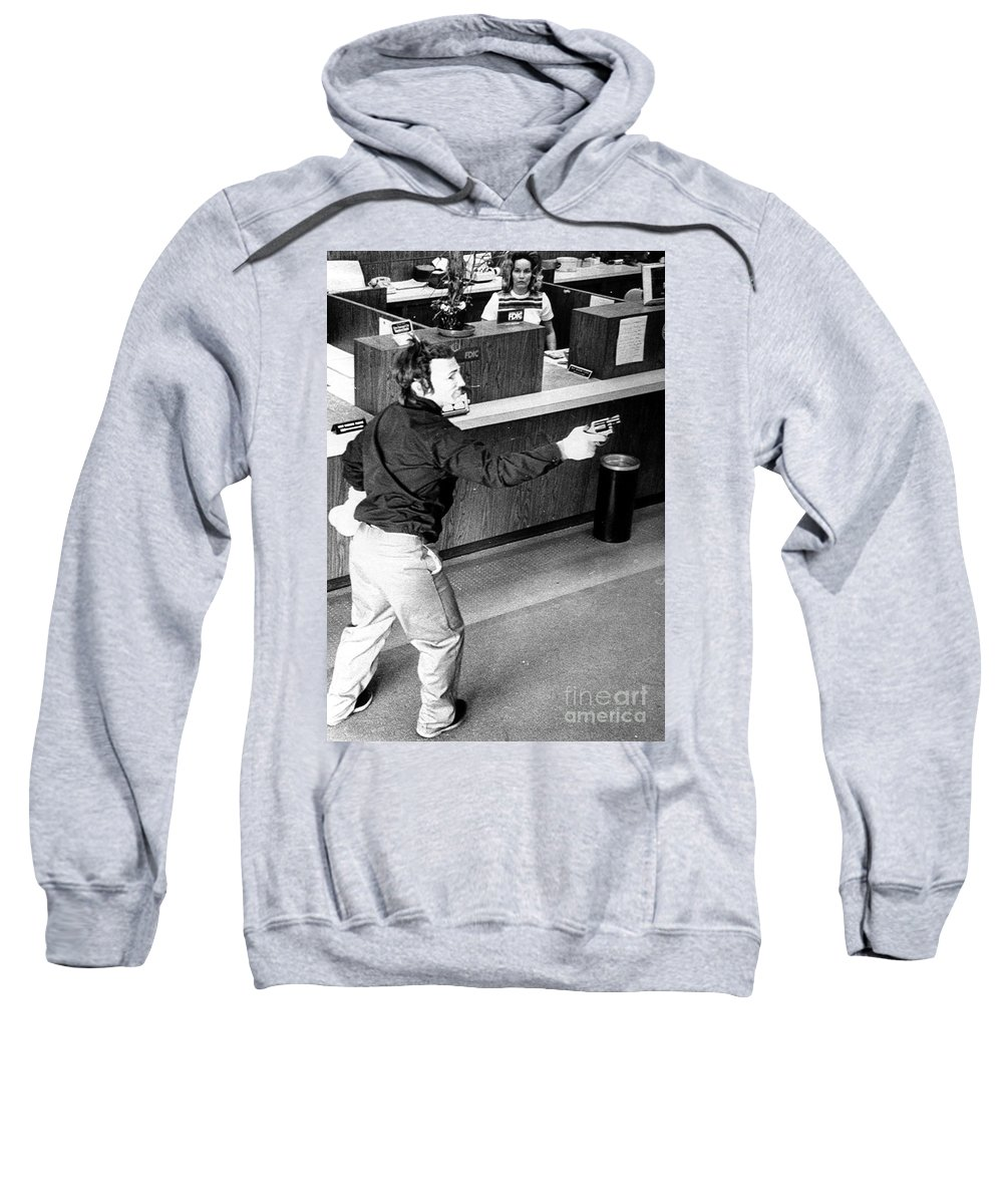 1973 Sweatshirt featuring the photograph Bank Holdup, 1973 by Granger
