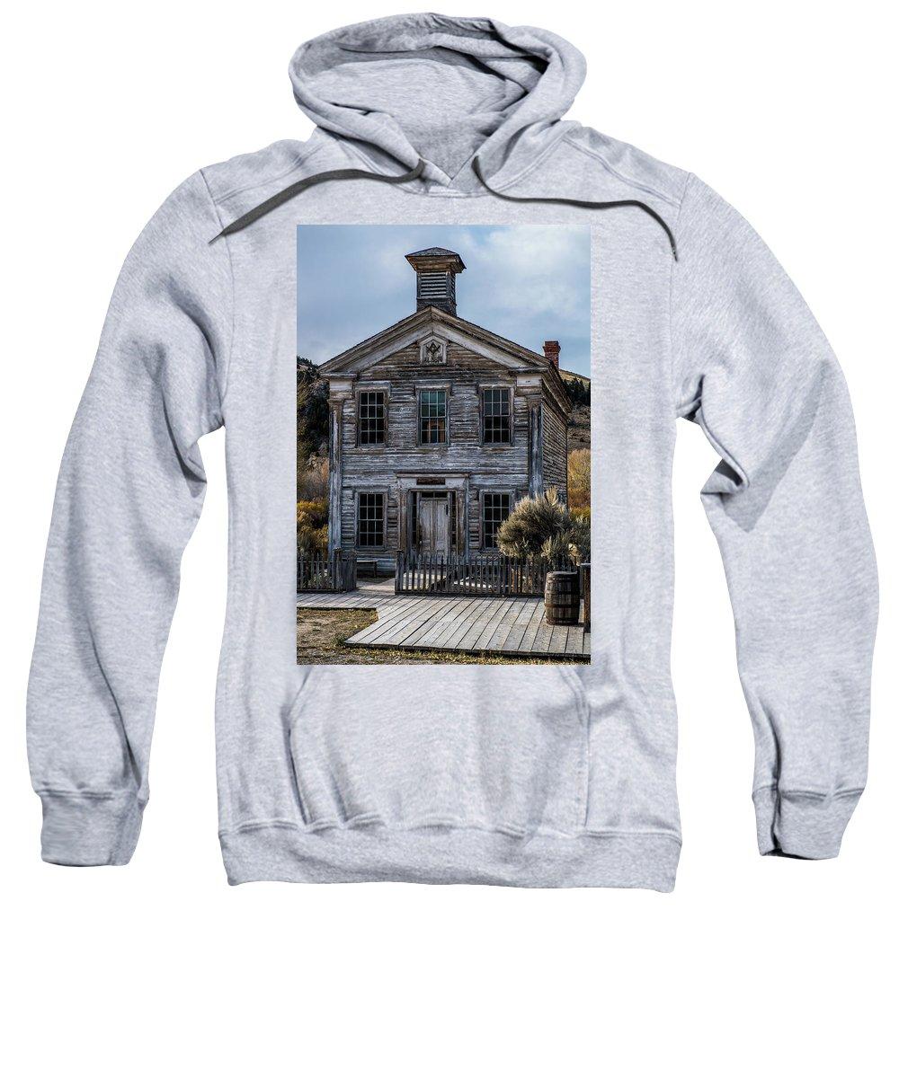 Bannack Sweatshirt featuring the photograph Bannack School House by Paul Freidlund