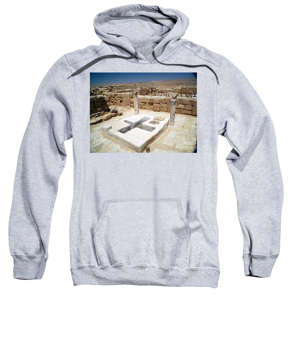 Baptistery Sweatshirt featuring the photograph Baptistery Eastern Church Mamshit Israel by Avi Horovitz
