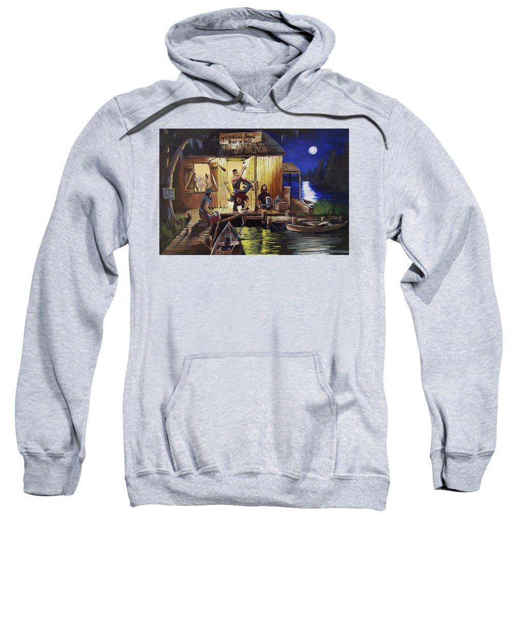 Landscape Sweatshirt featuring the painting Bar Room Brawl by Nicolas Avet