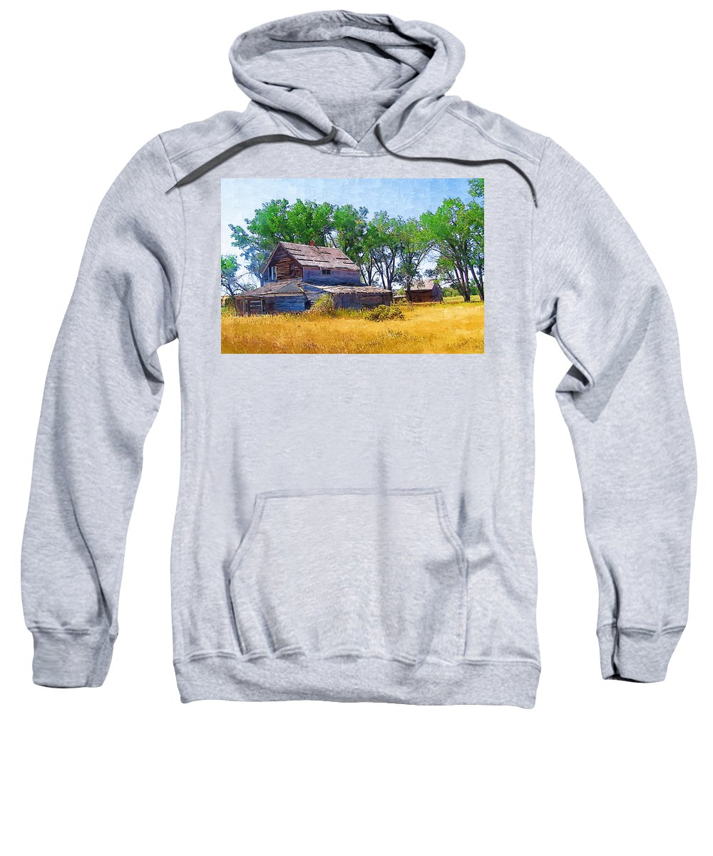 Barber Montana Sweatshirt featuring the photograph Barber Homestead by Susan Kinney