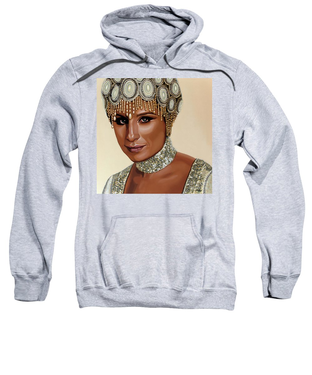 Barbra Streisand Sweatshirt featuring the painting Barbra Streisand 2 by Paul Meijering