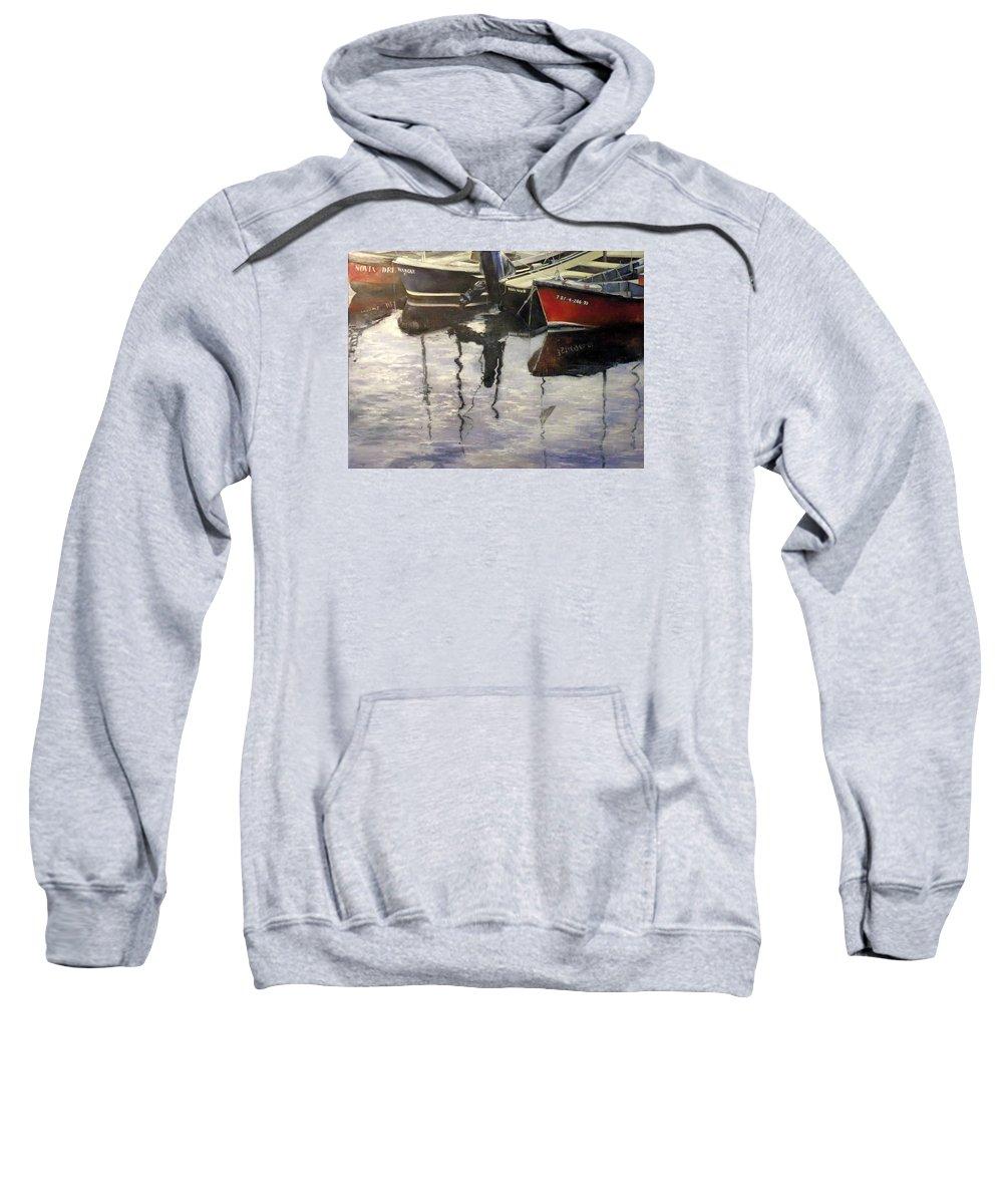 Arte Sweatshirt featuring the painting Barcas en puertochico-Santander by Tomas Castano